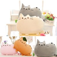 Wholesale Sleeping Cat Plush - 40X30cm New cat sleeping pillow with Zipper only skin without PP cotton biscuits big cushion pusheen colorful pillows not filler for kids012