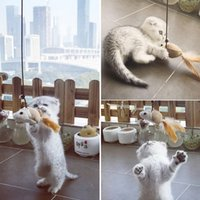 40Cm Cat Stick Pet Toys Long Woody Wand interacción juguete Little Mouse Fish redonda forma de bola tela perfecta para entrenar jugando
