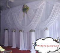 weiße vorhänge hochzeit dekoration groihandel-DHL Fedex geben Verschiffen 10ft * 20ft weißen Hochzeitsvorhang mit Hochzeits-Stadium Hintergrunddekoration der Swags romantischen frei