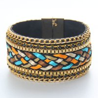 Wholesale Silver Findings For Leather Bracelets - Find Me 2017 Fashion punk charm wrap Slake Leather Bracelets for women big gem Crystals Stone bracelets bangles for Couple statement Jewelry