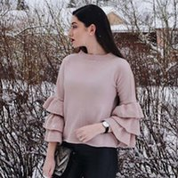 Wholesale Womens Ruffle Sweater - New Arrival Butterfly Sleeve Winter Sweater Women O-neck Pink Pullover Womens Clothing 2017 Autumn Knitted Sweaters