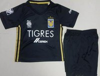 Wholesale Kids Shirt Tiger - 17 18 kids Mexico soccer jersey kit set club Tigres UANL Tigers home GIGNAC GUERRON 2017 away black football jersey Shirt