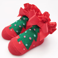 Wholesale Young Girls Clothing - Kids socks Baby 1-2 years young Girls Clothing children Socks Christmas Tree Pattern Kids Stocking Warmer Sock Red Cotton Girl Socks A7763
