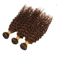 Wholesale chocolate hair weave 16 inch resale online - Dark Brown Kinky Curly Hair Extension Bundles For Woman Indian Virgin Human Hair Weaves Kinky Curly Chocolate Brown Human Hair Weft