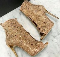 Wholesale Ladies Suede Lace Up Boots - Sexy Ladies Crystal Full Covered Peep toe Ankle Boots Plated Stiletto High Heels Women Bling Rivets Lace Up Dress Bottines Women Shoes Mujer