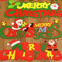 fenêtres des portes noires achat en gros de-Non-tissé Joyeux Noël Arbre de Noël pendentif Ornements 2017 Décoration de fête de noel de Noël Porte et fenêtre de père noël