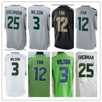 Wholesale Man View - 2017 wholesale Elite Men's Jerseys 3 Russell Wilson 12 FAN View 25 Richard Sherman White Black purple Stitched Cheap rugby shirt