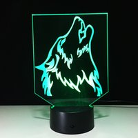 Wholesale Diy Led Light Box - 3D Howling Wolf Optical Illusion Lamp Night Light DC 5V USB Charging AA Battery Wholesale Dropshipping Free Shipping Retail Box