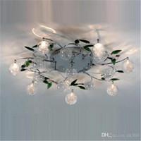 ingrosso le luci del soffitto lasciano-Plafoniera a LED Foglie verdi moderne Plafoniera a sfera in cristallo chiaro Plafoniera in filo di alluminio per camera da letto studio Sala da pranzo