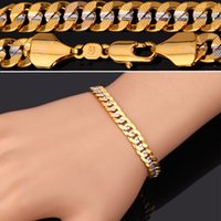 Wholesale Two Chains For Bracelets - Classical Cool 18K Stamp Jewelry for Men or Women 18K Two-Tone Gold Plated Curb Chain Bracelet