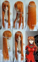 Wholesale Evangelion Wig - Free shipping Quality Fashion Picture full lace High wigs>>EVANGELION ASUKA ORANGE straight cosplay wig long 80CM