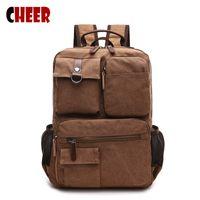 Wholesale 17 Laptop Bag Pink - Wholesale- Men's backpacks for school teenagers Retro laptop bag 17 inch notebook backpack Handy men school bag famous brands designer