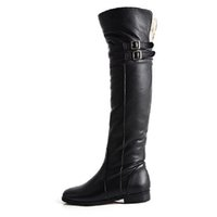 Inverno New Genuine Leather Belt Buckle Over-knee High Boots Mulheres Conforto Flat Heel Warm Plush Inside Knight Ladies Long Boot Shoes