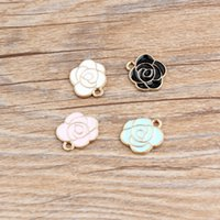 Wholesale Peony Charms - Free Shipping 10pcs lot 15*14mm Fashion Jewelry Beautiful Peony Flower Enamel Connector Charm Alloy Metal Pendant DIY Necklace Bracelet