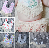 Wholesale Bebe Floral Tassel burp Kids Bib Burping Striped Bandana Bibs Baby Boy Girl Cartoon Burp Cloths kids Waterproof Bib