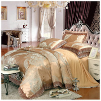 Wholesale Embroidered Satin Bedding Sets - Luxury Jacquard Bedding Set King Queen Size 4pcs Bed Linen Silk Cotton Duvet Cover Lace Satin Bed Sheet Set Pillowcases