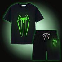 Wholesale Kids Shirts Spider - Spider Luminous Boys Clothes Sets 100% Cotton Summer Short Sleeve Fluorescent T-Shirts Pants Children Sport Suit Kids Clothing