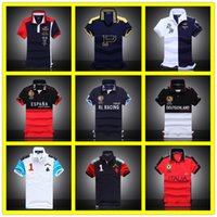Wholesale New York Paint - 2017 Hot Sale Fashion Casual Men's Shirt Berlin Paris London Rome New York Milan Short Sleeve With Big Horse Embroidery Polo T Shirts