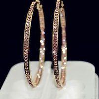 simple earring hoops al por mayor-2017 TOP pendientes populares Con círculo de diamantes de imitación Pendientes simples aro de círculo grande de color oro aretes para las mujeres E005
