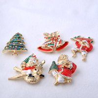Wholesale Oil Painting Christmas Tree - Fashion Christmas Brooches Drop Oil Painting Santa Claus Xmas Tree Bell Snowman Sleigh Reindeer Women Banquet Party Decoration Xmas Gift