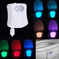 Wholesale Sound Sensor Activates Led - 8 Colors LED Toilet Bathroom Night Light Human Motion Activated Seat Sensor Lamp With Retail Box