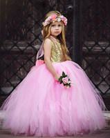 Wholesale Big Satin Skirts - Sparky Gold Sequin Flower Girls Dress with Big bow Pink Tulle Tutu Skirt Kids Ball Gowns Tulle Children Birthday Party Gowns