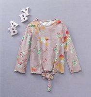 Wholesale Girls Bird Top - korean children clothing Flower Long Sleeve Girls Tee Shirt Autumn Floral Bird Cotton Children Tops Fashion Bow Kids Blouses C1948