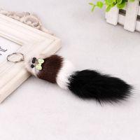 Wholesale 3d ring mouse resale online - 7 quot quot Fox Fur D Cute Mouse Squirrel Keychain Handbag Key Ring Car Key Women Kids Gift FBA Drop Shipping C97Q