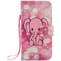 Wholesale Elephant Galaxy S3 Case - Painted pink elephant flip leather case for Samsung Galaxy S3 S4 S5 S6 S7 edge card cover Card slot wallet with kickstand phone stand