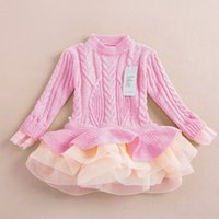 Wholesale Kids Thick Sweater - Thick Warm Girl Dress Christmas Wedding Party Dresses Knitted Chiffon Kids Sweater Dresses Girls Clothes Children CLothing Girl Tutu Dress