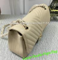 Wholesale Brand New Handbag Price - 2018 New Design Beige Caviar Double Flaps Bag 1112 Brand Chevron Bags Black Lambskin Flap Handbags Gold Hardware Wholesale Price