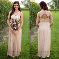 Wholesale Lace Maternity Tops - 2017 Country Style Chiffon Maternity Long Bridesmaid Dresses Sheer Lace Top Pregnant Maid Of Honor Backless Wedding Guest Party Gowns