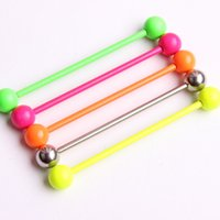 5 dulces Colores 38mm Long Bar barbell industrial piercing espiral pendiente oreja Piercing Bar acero Ear Plug Stretcher