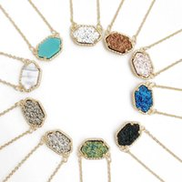 Wholesale 10 Colors Drusy Hexagon Pendant Necklace druzy kate oval necklaces gold Colour chain fashion brand jewelry For women girls