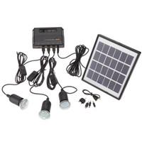 kits de iluminación solar al por mayor-Al por mayor-Al aire libre Panel de energía solar LED Lámpara de luz Cargador USB Home System Kit Garden Path