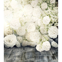 Wholesale 3D White Roses Romantic Flower Wall Backdrop Wedding Dark Floor Photo Studio Wallpaper Vintage Floral Photography Background Fabric x10ft