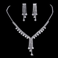 Wholesale Purple Bridal Necklace Set - 2017 upscale bridal jewelry silver plated diamond necklace tassel romantic bride necklace earrings accessories, free shipping.