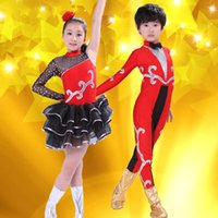 Wholesale Latin Stage Sequin Dancewear - Hot Sales Girls Dancewear Latin Dance Dress for Girls boys Tights Spanish style Sequins Tango Ballroom Dance Dresses Kids Dress Stage Perfor