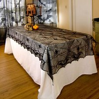 Wholesale DHL For Shipping Lace Black Spider Web Halloween Tablecloth Tablecover Rectangle cm Halloween Decoration Decor Props