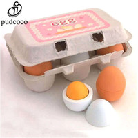 Wholesale pretend play kitchens - Wholesale- Pudcoco 6PCS Baby kids kitchen Toy Pretend Play Educational Toy Wooden Eggs Yolk Kitchen Cooking Toy For Children Funny Gift