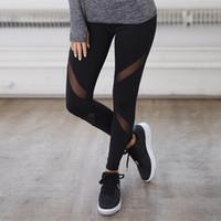 Wholesale Mesh Sports Pants - Yoga Mesh Patchwork Sheer See Through Hollow Out Hole Leggings Women Ankle-Length Low Waist Elastic Active Sport Pants Russian Women Bottoms