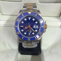 Wholesale 18k Gold Color - Factory wholesale new watch men AAA sapphire ceramics bezel blue luxury automatic silver 18K gold Stainless original clasp mens watches