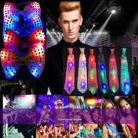Led Luminous Neck Tie Mixcolor Flashing Homme / Mode féminine Bow Tie Party Wedding Dancing Stage Glowing Tie B608