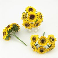 Wholesale Mini Silk Sunflowers - 6pcs lot 4cm Head Artificial Mini Silk Sunflower Artificial Flowers Bouquet For Garden Wedding Car Home Decoration Scrapbooking