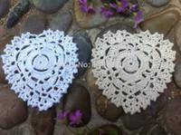 Wholesale Doily Hearts - Wholesale-Free shipping wholesale 40 pcs lot heart wedding placemats handmade Crochet doilies cup mat Ecru White color 12cm