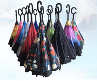 Wholesale double fabric umbrellas - Windproof Reverse Folding Double Layer Inverted Chuva Umbrella Self Stand Rain Protection C-Hook Hands For Car