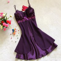 Wholesale Silk Lace Nightdress - Summer sexy lingerie silk chiffon nightdress stitching lace nightdress female vest temptation