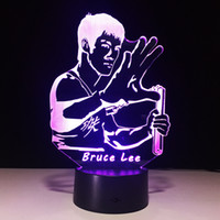 Wholesale snowman boxes - 3D Bruce Lee Optical Illusion Lamp Night Light DC 5V USB Charging AA Battery Wholesale Dropshipping Free Shipping Retail Box