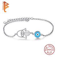 Wholesale Hamsa Bead Bracelets - BELAWANG Best Quality 925 Sterling Silver Crystal Hamsa Hand Bracelets Jewelry Blue Enamel Evil Eye Beads Bracelet For Women Anniversary
