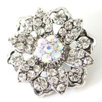 Wholesale Trendy Charm Bracelets - Wholesale-New Trendy Simple beauty flower 18MM Metal giner snap buttons for DIY ginger snap jewelry wholesale KB7118